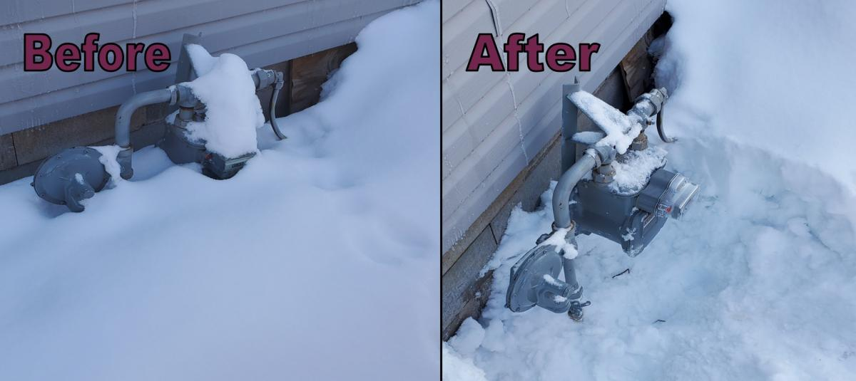 before and after cleaning snow off gas meter
